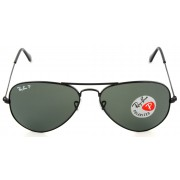 Aviator Large Metal - Black - Crystal Green Polarized | Col002/58